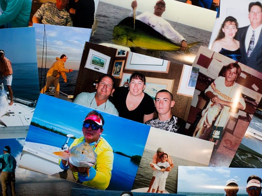 The late Bruce Jackmack, wife Sheri, and their son Tony Pinero, center, can be seen in a family photo surrounded by other memories of the Naples-area fishing guide. Bruce Jackmack, 50, died July 15th.