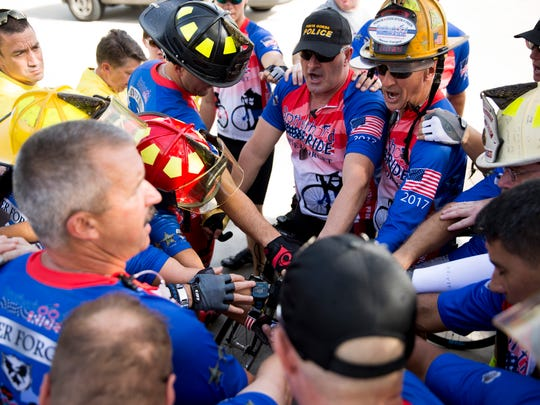 Over 20 first responders take off from North Collier Fire Control & Rescue Station 45 to begin their 600-plus mile ride in honor of fallen heroes Sunday, July 23, 2017, in Naples.