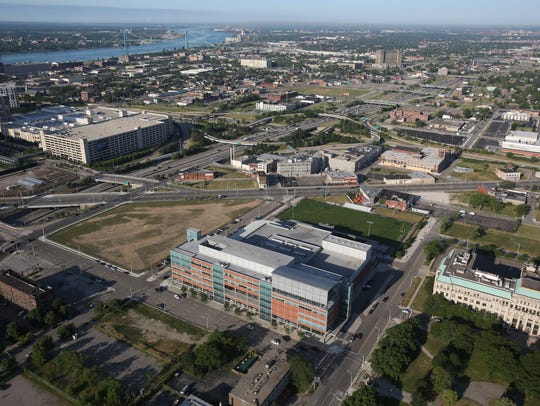 File photo of an aerial View of Downtown Detroit, Cass