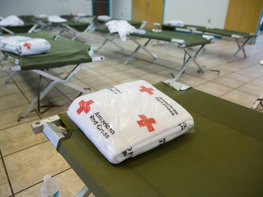 The Red Cross set up a disaster relief  shelter at the Hatch Community Center, Monday July 24, 2017. The shelter was set up after heavy rains Sunday night displaced some residents.