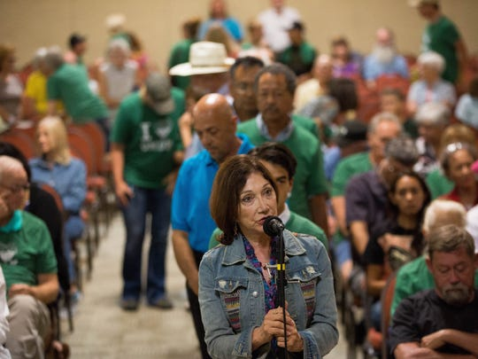 Residents of Doña Ana County, along with residents of surrounding counties and cities spoke in support of the Organ Mountains- Desert Peaks National Monument and against any changes to it. Thursday July 27, 2017 at the Las Cruces Convention Center.