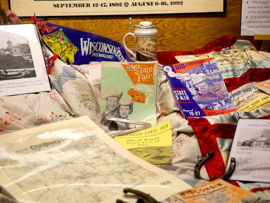 A collection of items are on display as historic memorabilia