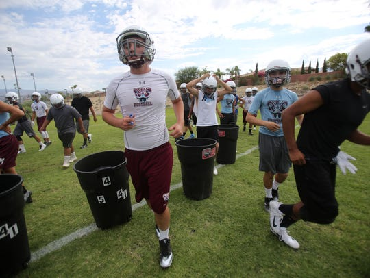 Members of the Rancho Mirage High School football team