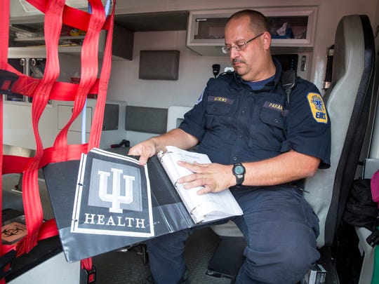 Kurt Mathews with Delaware County EMS goes through a nearly 500 page manual for operating procedure on an case by case level. The guide, which is more extensive than most for EMS units across the state according to Mathews, allows for the trained paramedics to give their patients the best chance for survival while headed to the hospitals.