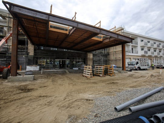 Construction on the three-story Hotel Paseo on Larkspur