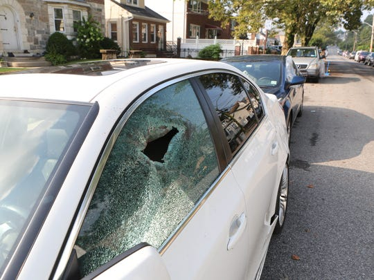 Numerous cars parked along Alexander Avenue in Yonkers, had their windows smashed overnight, Aug. 3, 2017.
