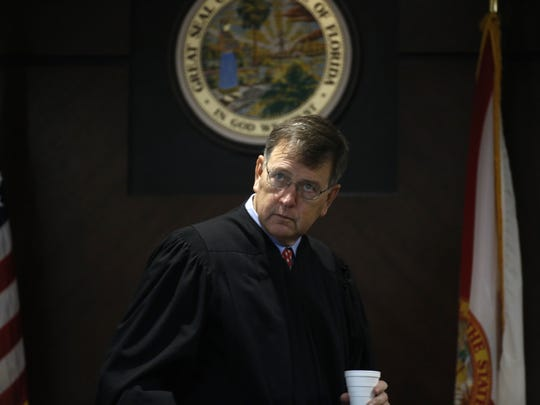 Circuit Judge James Hankinson presides over the trial of Henry Segura Jr. at the Leon County Courthouse Friday, Aug 11.