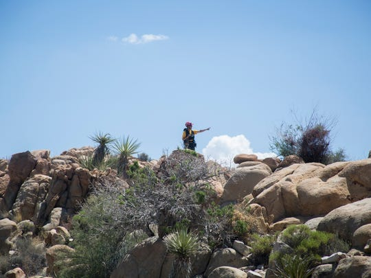 Jim Koeppel, a member of the Joshua Tree National Park Search and Rescue Team (JOSAR), searches for clues as to the whereabouts of Joseph Orbeso and Rachel Nguyen. Both went hiking near the Maze Loop at the park but have not been seen since July 27, 2017.