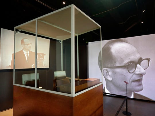 The bulletproof glass booth in which Adolf Eichmann