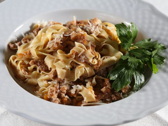 The Tagliatelle with Bolognese Ragu served At The Italian Table on Frankfort Avenue.  Aug. 17, 2017