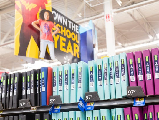 Binders are available in Walmart's Back-To-School section.
