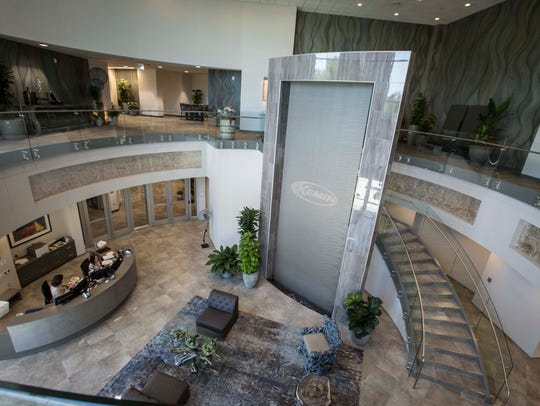 Reception atrium at Kemin Industries in Des Moines,