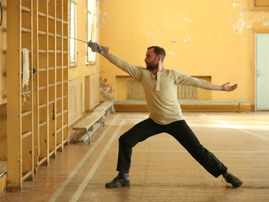 "Endel (Märt Avandi) practices in ""The Fencer."""