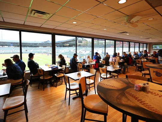 The view of Principal Park from The Cub Club.