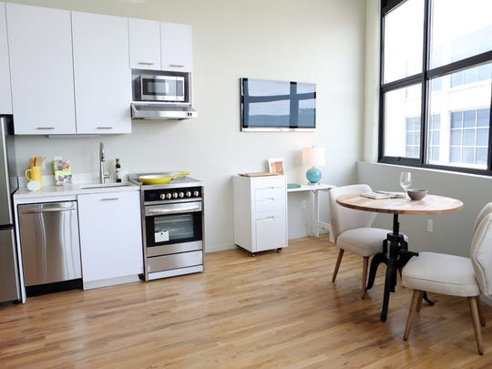 The kitchen area in a micro unit at the Uno complex in Yonkers.