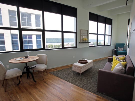 A micro unit with a view of Hudson River at the Uno complex in Yonkers.