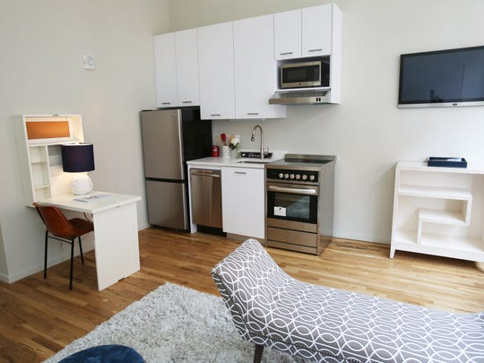 The kitchen area in a micro-unit at Uno complex in