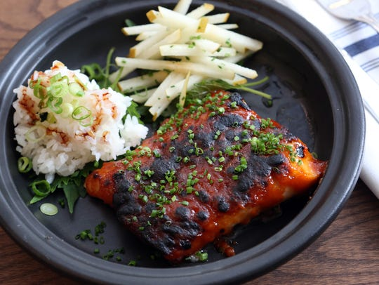 The black cod with savory chili, nishiki rice, pear