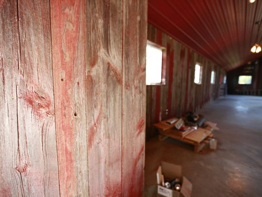 The barn wood on the interior walls of the barn built
