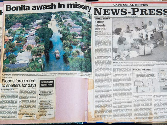Newspaper clippings from 1995 chronicle the floods