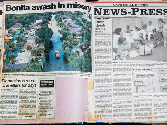 Newspaper clippings from 1995 chronicle the floods that affected Lee County. Clippings provided by Andrea Stetson.