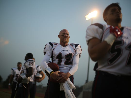 Todd Marinovich waits to play in his first game for the SoCal Coyotes.