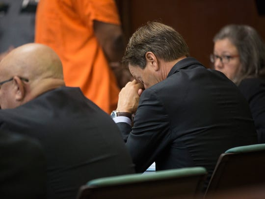 Mesac Damas' defense team appears frustrated while