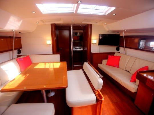 The interior of Nyack Boat Charter's, the Al Vento
