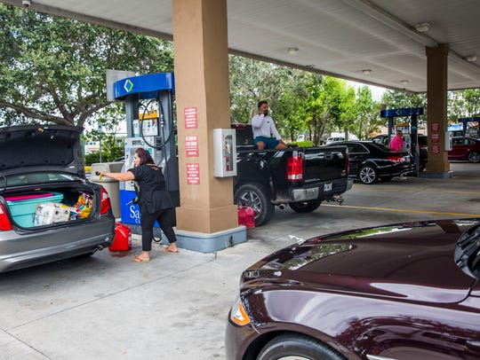 Cars in line for gas at Sam's Club on Immokalee Road