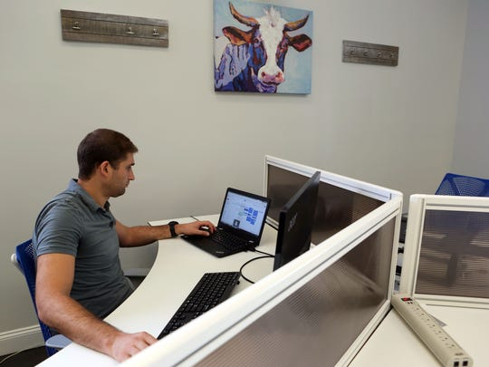 Levy Forchheimer, 34, of Nyack works at his desk at Share Space, a co-working space in Nyack, Sept. 5, 2017.
