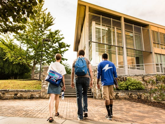 Students on campus at UNC Asheville, which recently tied for No. 7 on US News & World Report's ranking of public liberal arts colleges.