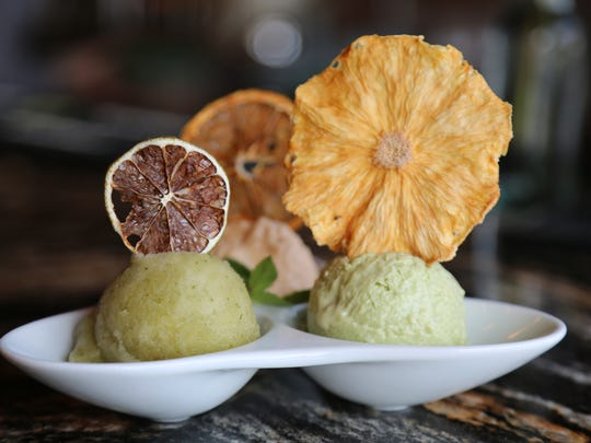 House-made mojito sorbet, avocado ice cream and acerola sherbert from M Cantina in Dearborn.