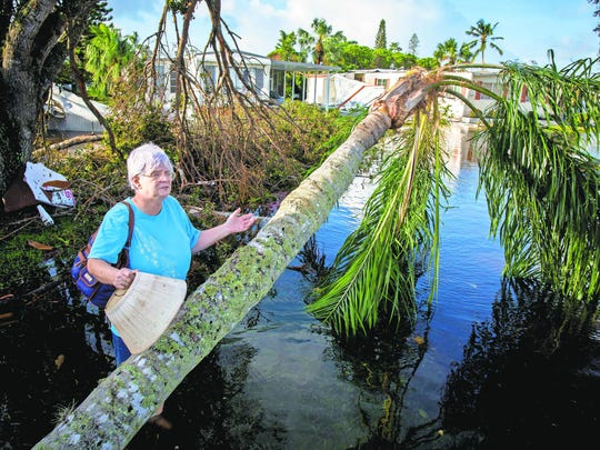 April McCausland looks over the damage to her home at Naples Estates trailer park in East Naples on Monday, Sept. 11, after Hurricane Irma passed through southwest Florida.