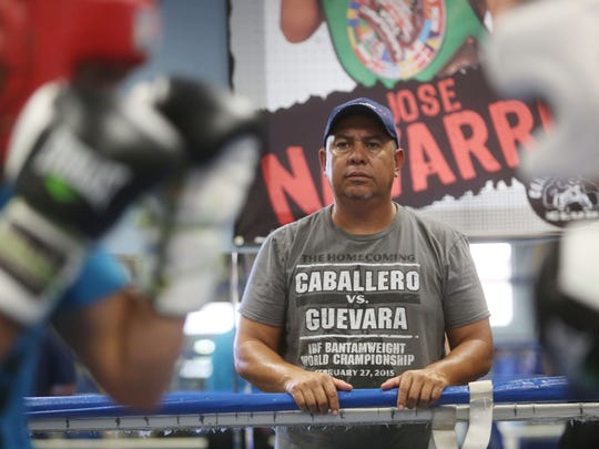 Marcos Caballero, father and head trainer of IBF Bantamweight champion Randy Caballero, observes a sparring session as they prepare for his November 21, 2015 title defense against Lee Haskins at Las Vegas.