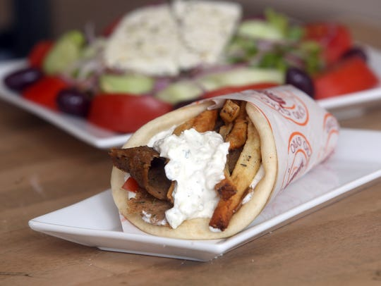 A beef and lamb gyro, with a Greek salad, at Gyro Gyro,