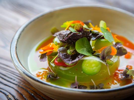 Compressed mellon salad from Harbinger in Des Moines