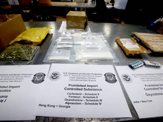 Packages containing fentanyl and the even more lethal carfentanil are among the illegal drugs stored in the detention room at the JFK mail inspection site.
