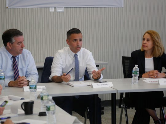 Chappaqua school board President Victoria Tipp, right, speaks at an editorial board meeting Sept. 13, 2017.