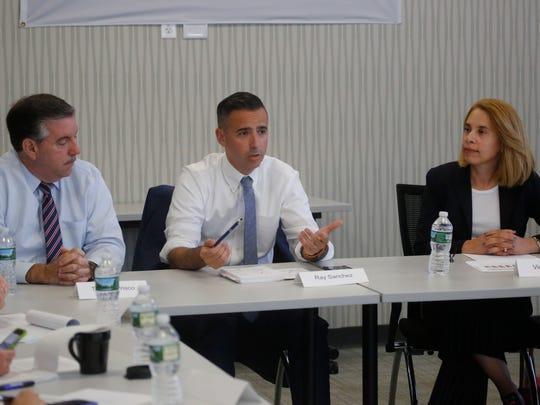 Chappaqua school board President Victoria Tipp, right, speaks at an editorial board meeting Sept. 13, 2017.