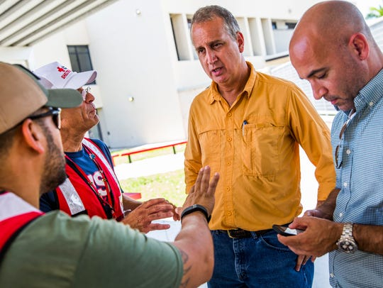 Representative Mario Diaz-Balart visits Redlands Christian Migrant Association during FEMA registration assistance in Immokalee on Friday, Sept. 15, 2017.