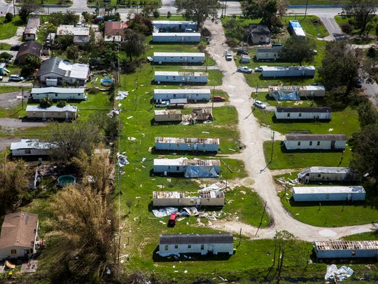 Aerial view of damaged and destroyed trailer homes in Immokalee on Saturday, Sept. 16, 2017, six days after Hurricane Irma.