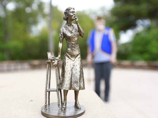 This is a miniature model of the Gold Star mother statue Vietnam veteran Joe Kelbley hopes to install at Veterans Memorial Park.   Thursday, September 21, 2017, at the Veterans Memorial Park in Rothschild, Wis.