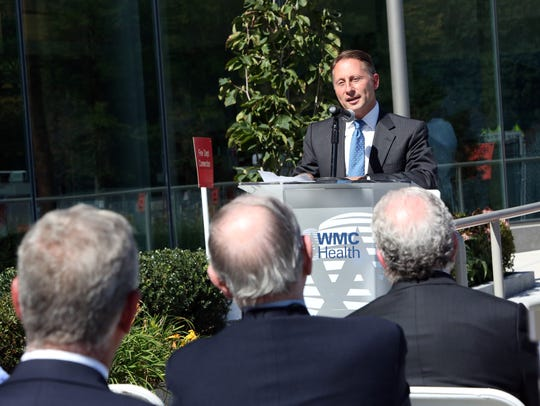 County Executive Rob Astorino speaks at a topping off