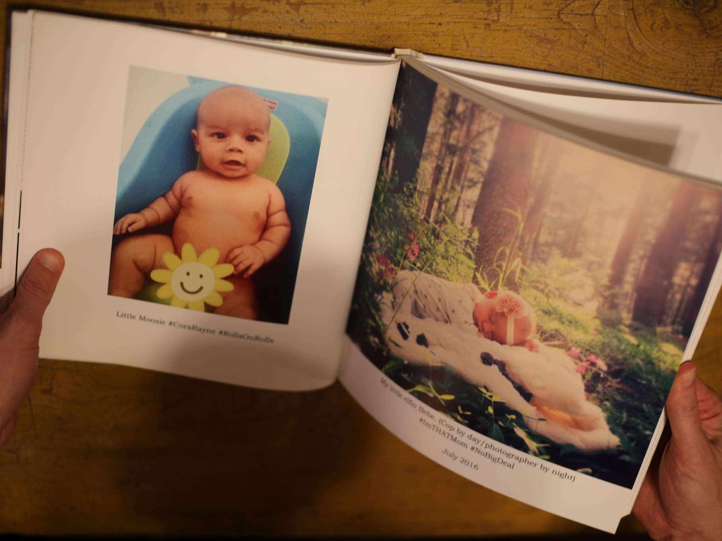 A photo book with a picture of Cora Zerebny, the daughter
