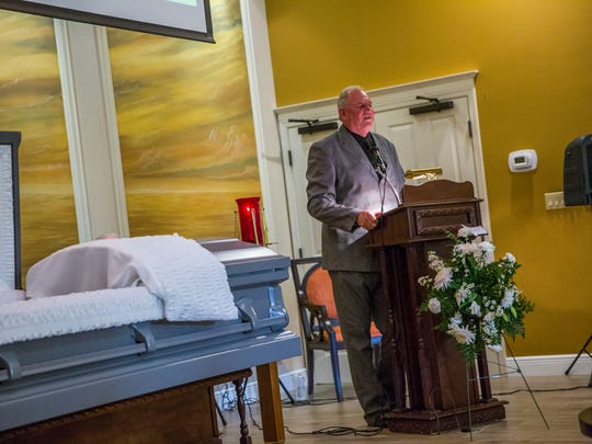 Eddie Rewis Jr. speaks during the funeral service for his son Devan Rewis, 31, of Chokoloskee at Hodges Funeral Home in Naples on Saturday, Sept. 30, 2017
