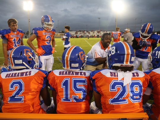 Cape Coral takes on Port Charlotte in high school football on Tuesday, October 3, 2017, at Cape Coral High School.