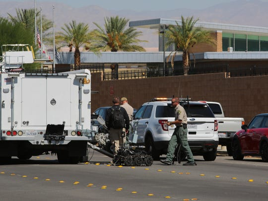 The Riverside County Hazardous Device Team unloads a robot outside Palm Springs International Airport on Oct. 4, 2017.