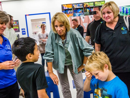 United States Secretary of Education Betsy DeVos visits with students at Everglades City School on Friday, Oct. 6, 2017. DeVos also visited Pinecrest Elementary School in Immokalee on her tour.