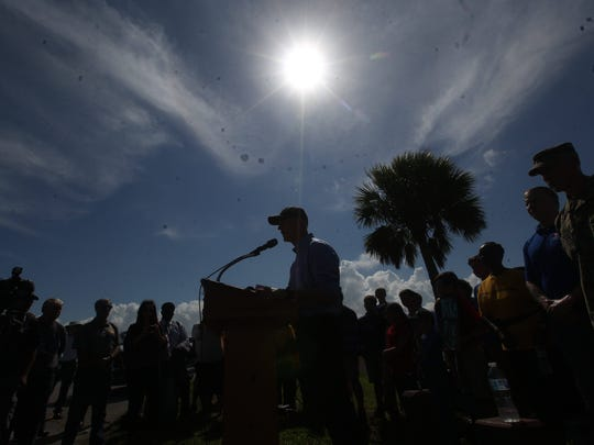 Florida Gov. Rick Scott visited Clewiston on Monday and urged the federal government to help in the restoration of the Herbert Hoover Dike that surrounds Lake Okeechobee. He met with with the Army Corps of Engineers and other dignitaries.