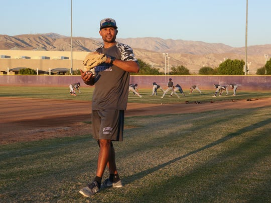 Coco Crisp coaches the Shadow Hills baseball team in Indio, Oct. 10. 2017.
